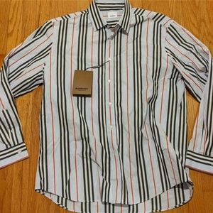Mens Burberry Striped LS Sport Shirt Pale Blue